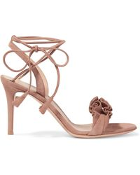 Gianvito Rossi - Ruffled Suede Sandals - Lyst