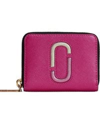 Marc Jacobs - Woman Metallic Textured-leather Wallet Pink - Lyst