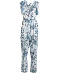 Just Cavalli - Open-back Ruffle-trimmed Printed Linen-blend Jumpsuit - Lyst