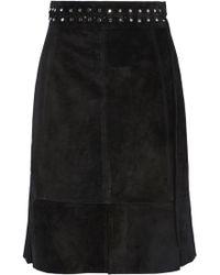Proenza Schouler - Fluted Studded Suede Skirt - Lyst