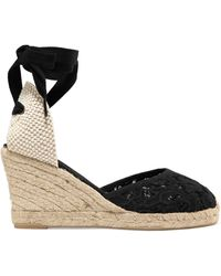 Soludos - Lace-up Canvas And Lace Wedge Espadrilles - Lyst