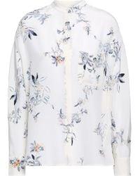 Vince - Woman Floral-print Silk Crepe De Chine Shirt Ivory - Lyst