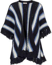 lemlem - Grace Fringe-trimmed Striped Wool-blend Poncho - Lyst