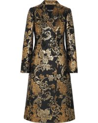 Dolce & Gabbana - Double-breasted Metallic Floral-jacquard Coat - Lyst