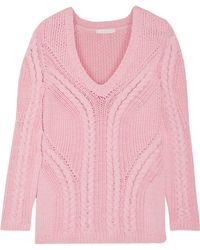 Maje - Mafieux Cable-knit Cotton-blend Jumper - Lyst