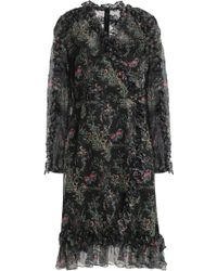 Mikael Aghal - Ruffled Floral-print Georgette Dress Black - Lyst