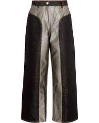 Kéji | Cropped Two-tone Metallic High-rise Wide-leg Jeans | Lyst