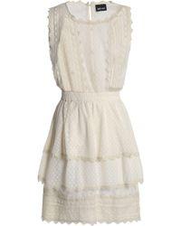 Just Cavalli - Tiered Crochet-trimmed Point D'esprit Mini Dress - Lyst