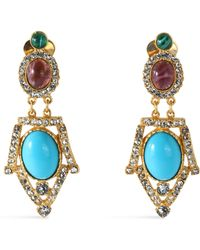Ben-Amun - Woman Gold-tone, Stone And Crystal Clip Earrings Turquoise Size -- - Lyst