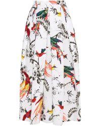 Erdem - Elena Pleated Printed Cotton-poplin Midi Skirt - Lyst