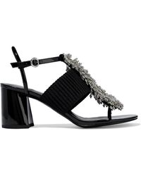 3.1 Phillip Lim - Bead-embellished Ribbed-knit And Patent-leather Sandals - Lyst