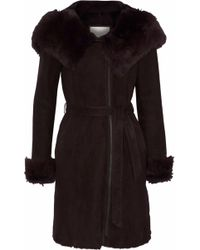 SOIA & KYO - Woman Gilma Shearling Hooded Coat Dark Brown - Lyst