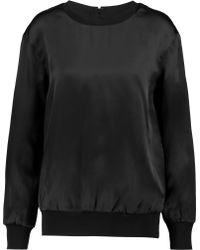 Self-Portrait - Ribbed Jersey-trimmed Silk-satin Sweatshirt - Lyst