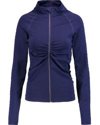 Yummie By Heather Thomson - - Vera Croc Effect-trimmed Stretch-jersey Jacket - Navy - Lyst