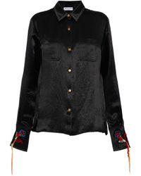 Sonia Rykiel - Embroidered Textured-satin Shirt - Lyst