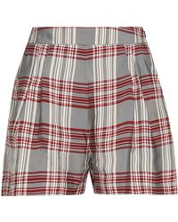 Markus Lupfer - Woman Checked Twill Shorts Gray - Lyst
