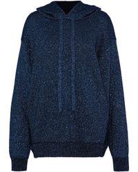 Maison Margiela - Metallic Stretch-knit Hooded Sweatshirt - Lyst