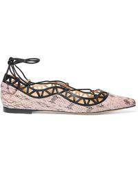 Bionda Castana - Aida Cutout Snake-effect Leather Point-toe Flats - Lyst