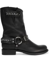 Frye - Jenna Chain-embellished Leather Ankle Boots - Lyst