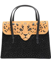 Charlotte Olympia - Fierce Cutout Suede And Embellished Leather Tote - Lyst