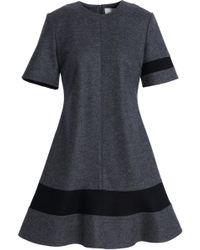Pringle of Scotland - Flared Two-tone Brushed Wool Mini Dress - Lyst