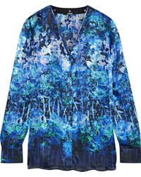 Elie Tahari - Lydia Leather-trimmed Floral-print Silk Blouse - Lyst