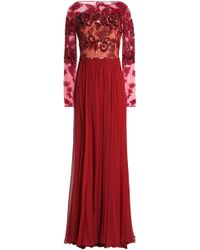 Zuhair Murad - Embellished Tulle And Pleated Silk-blend Chiffon Gown - Lyst