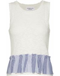 Derek Lam - Gingham Oxford-trimmed Pointelle-knit Cotton-blend Top - Lyst