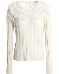 Marc Jacobs - Ruffle-trimmed Wool And Silk-blend Jumper - Lyst