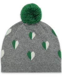 Chinti & Parker - Woman Pompom-embellished Intarsia Wool And Cashmere-blend Beanie Grey - Lyst