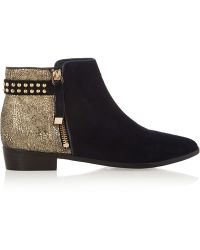 Yosi Samra - Stud-embellished Metallic Cracked-leather And Suede Ankle Boots - Lyst