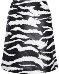 Versus - Coated Zebra-print Satin-twill Mini Skirt - Lyst