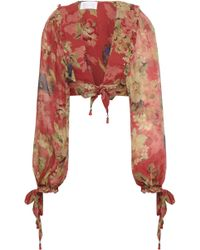 Zimmermann Cropped Tie-front Floral-print Silk-georgette Top Brick