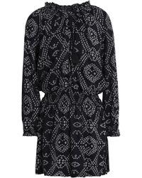 Antik Batik - Woman Gathered Printed Canvas Mini Dress Black - Lyst