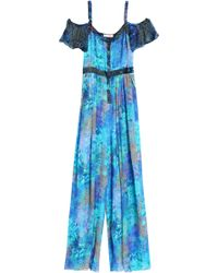 Matthew Williamson - Cold-shoulder Printed Silk Jumpsuit - Lyst