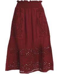 Antik Batik - Shirred Broderie Anglaise Cotton Skirt - Lyst