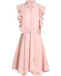 Antonio Berardi - Woman Ruffled Silk-satin Crepe Mini Shirtdress Pastel Pink - Lyst
