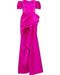 Badgley Mischka - Off-the-shoulder Ruffled Satin-faille Gown - Lyst