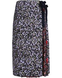 Mother Of Pearl - Panelled Floral-print Silk-crepe Midi Skirt - Lyst