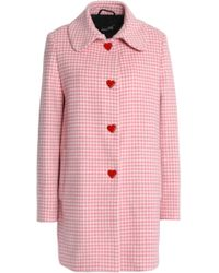 Love Moschino - Snap-detailed Gingham Wool-blend Coat - Lyst