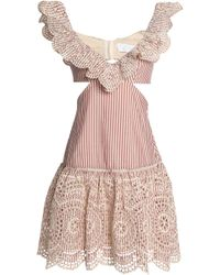 Zimmermann - Cutout Striped Broderie Anglaise Cotton Mini Dress - Lyst