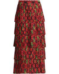 Stella Jean - Tiered Pleated Printed Crepe Midi Skirt - Lyst
