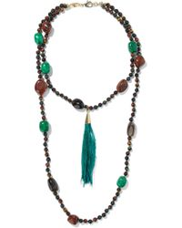 Rosantica - Bosco Gold-tone, Bead, Stone And Feather Necklace - Lyst