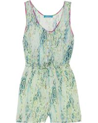 Matthew Williamson - Snake-print Silk-chiffon Playsuit - Lyst
