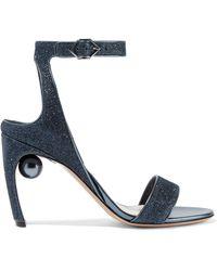 Nicholas Kirkwood - Lola Embellished Glittered Faux Leather Sandals Storm Blue - Lyst