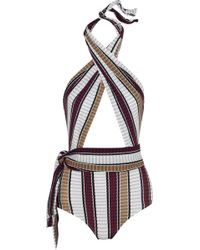Karla Colletto - Palazzo Striped Wrap Swimsuit - Lyst
