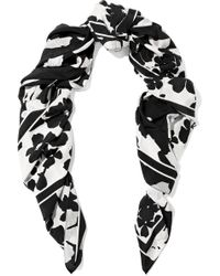 McQ - Woman Floral-print Silk Crepe De Chine Scarf Black - Lyst