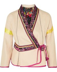 Etro - Satin-trimmed Embroidered Linen-blend Wrap Jacket - Lyst