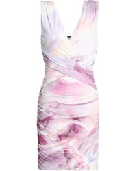 Roberto Cavalli - Woman Ruched Printed Crepe De Chine Mini Dress Lilac - Lyst
