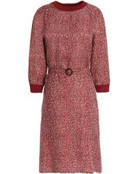 Vanessa Seward - Belted Printed Silk Crepe De Chine Dress - Lyst